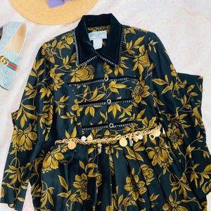 Vtg 80s Velvet Collar Fall Leaves Babydoll Dress